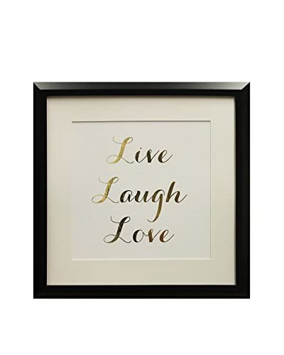 Star Creations Gold Foil Inspirational Series Live Laugh Love, 18 x 18