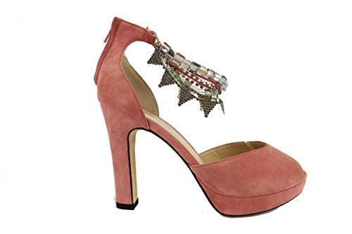TWIN-SET sandali donna rosa camoscio AH632 (37 EU)