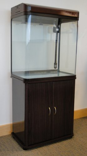 100L Walnut Colour Height Added Cabinet Aquarium Fish Tank Tropical / Marine 60cm 2ft with T5 Lighting All Pond Solutions