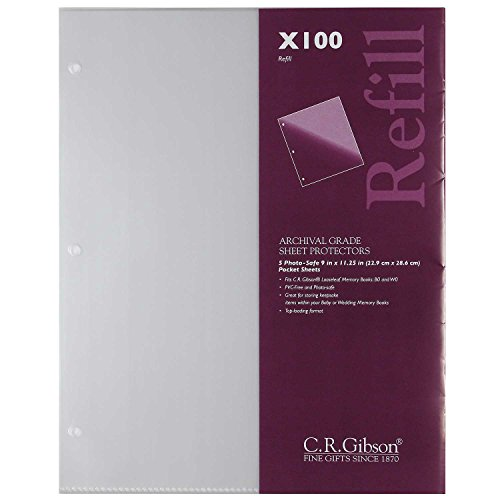 """C.R. Gibson X100 Photo Safe, Looseleaf Memory Books B0 and W0, 9""""x11"""" Pocket Pages Sheet Protectors Refill"""