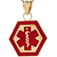 14k Real Gold Medical Alert Red Enamel 1.6cm Charm Pendant Jewelry