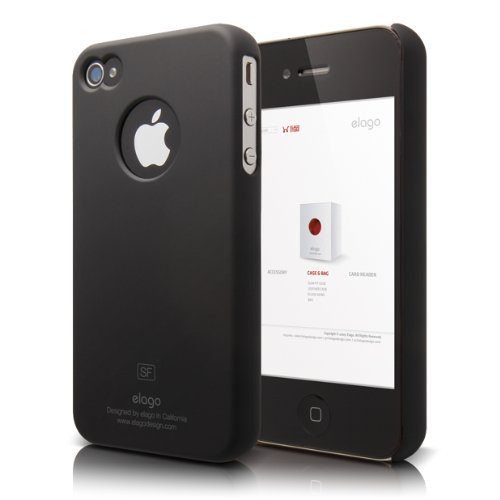 Elago S4 Slim-Fit Case For Iphone 4/4S With Logo Protection Film (Sf Black, Fits At&T And Verizon Iphone)