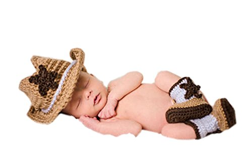 Pinbo® Newborn Baby Photography Prop Crochet Knitted Cowboy Hat Boots