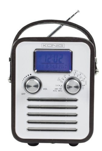 Konig AM/FM Radio LCD Clock/Temperature Display with MP3 iPod Connection - Brown