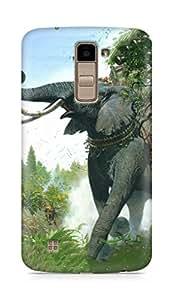 Amez designer printed 3d premium high quality back case cover for LG K10 (War age elephant)
