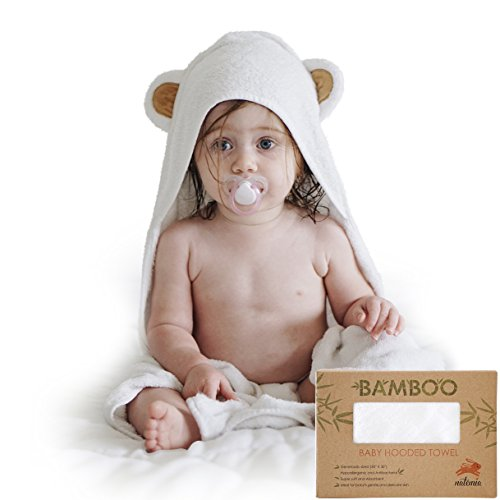 Natemia Extra Soft Baby Bamboo Hooded Towel | Organic and Hypoallergenic | Keeps Baby Dry and Warm | Sized for Infant and Toddler