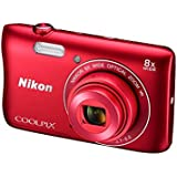Nikon Coolpix S3700 20.1MP Point And Shoot Digital Camera (Red) with 8x Optical Zoom