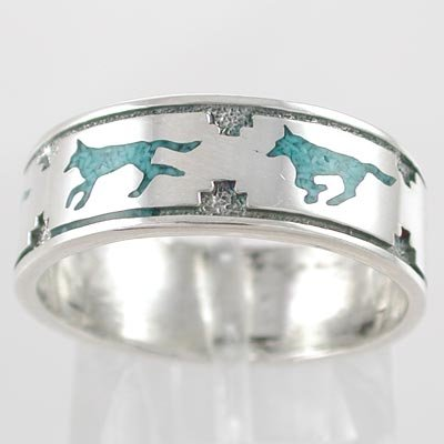 Southwestern Native American Style Running Wolf Band Ring in Sterling Silver with Turquoise Chip Inlay for Men or Women, size 7, #11108