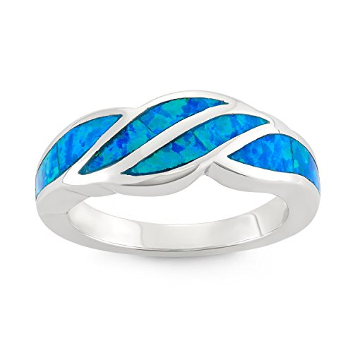 Sterling-Silver-Created-Blue-Opal-Designed-Band-Ring-Size-8