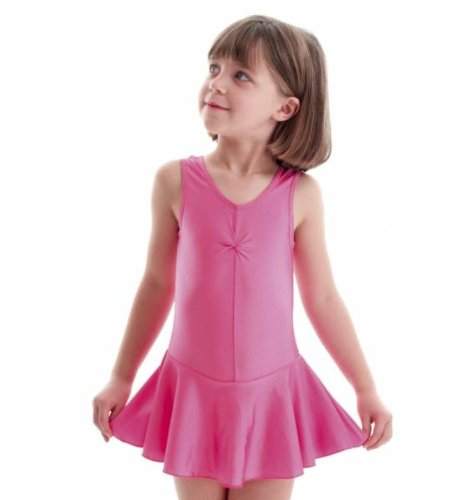 KDR005 Nylon Lycra Ballet Dance Gym Leotard With Skirt All Colours & Sizes By Katz Dancewear (Pale Pink, Age 5-6 Years Katz 0)