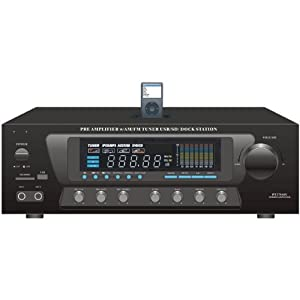 Pyle Home PT270AIU 300-Watt Stereo Receiver AM-FM Tuner, USB/SD, iPod Docking Station and Subwoofer Control by Sound Around