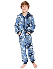 Hooded Camouflage Fleece Onesie