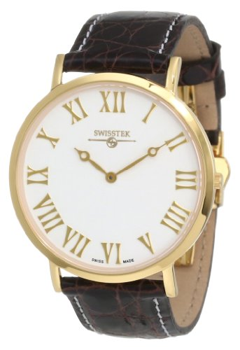 Swisstek Men's SK21203G-CrBr Slim-Tek Limited Edition Gold Plated Stainless Steel Ultra Thin Swiss Quartz Watch