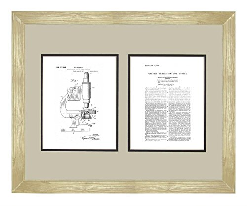 "Microscope And Counting Chamber Patent Art White Matte Print In A Natural Raw Wood Frame (16"" X 20"")"