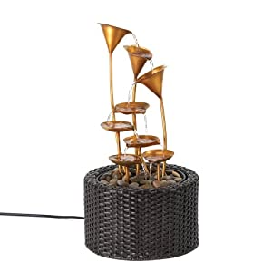 FA Decors Serene Golden Water Lily Fountain from Tom & Co.