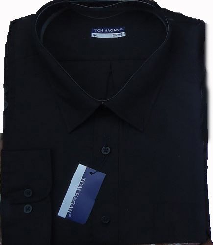 Tom Hagan/Classic Full Sleeved Casual Formal Wear Shirts Big Full Fitting Black - Black - 3Xl 19-19.5 Collar