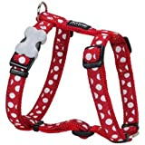 Red Dingo Patterned Dog Harness, M, 18 mm/ 42 - 57 cm, 35 - 53 cm Neck Size, Red/ White Spots