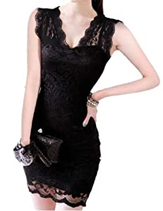 Womens Sexy Sleeveless Evening Party Cocktail Ball Lace Mini Dress (M)