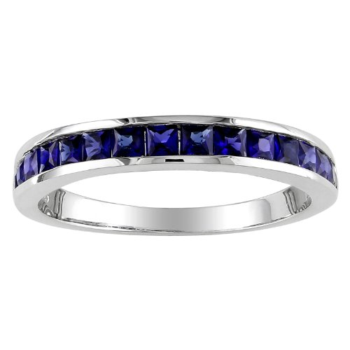 Sterling Silver 3/4 CT TGW Created Sapphire Eternity Ring