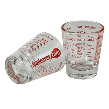 4 X Mini Measure ® Mini Measuring Shot Glass Measures 1oz, 6 Tsp, 2 Tbs, 30ml