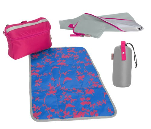 Babymule Essentials Kit in Blue/Pink. Baby Changing Kit