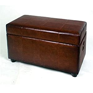 "Faux Leather Bench Trunk with Lid (Mixed Patchwork Brown) (19""H x 38""W x 20""D)"