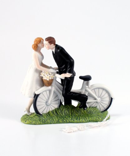 Weddingstar-A-Kiss-Above-Bicycle-Bride-and-Groom-Couple-Figurine-for-Cakes