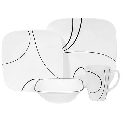 Corelle Simple Lines Square 16-Piece Dinnerware Set, Service for 4