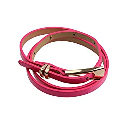 Imported Lady Girl Skinny Waist Belt Leather Buckle Waist Slim Waistband Rose Red