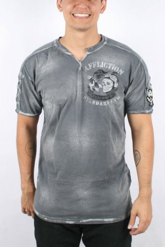Affliction - Mens Frenzy Slit Neck T-Shirt In Charcoal Bleach Brush Wash, Size: Small, Color: Charcoal Bleach Brush Wash