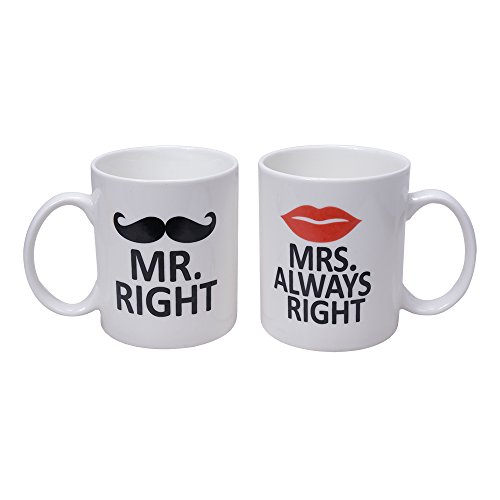 Ilyever Mr. Right and Mrs. Always Right Ceramic Coffee Mug Tea Milk Gift Mug Cup 11oz With Drawing of Mustache and Lips. Novelty Fun Idea For Anniversary and Lovers (Mr And Mrs Coffee Mugs compare prices)