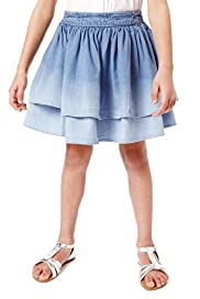 Pure Cotton Adjustable Waist Denim Skirt