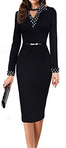 LUNAJANY-Womens-Black-Polka-Dot-Long-Sleeve-Wear-to-Work-Office-Pencil-Dress