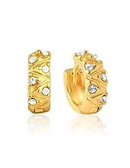 Mahi Eita Collection White Gold Plated Crystal Stones Hoop Earrings For Women-ER1100173G