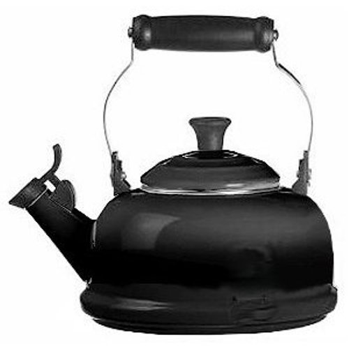 Le Creuset Enamel-on-Steel Whistling 1-4/5-Quart Teakettle, Black (Le Creuset Black Whistling Kettle compare prices)