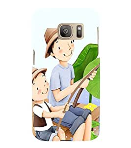 Printvisa Premium Back Cover Father Son Fishing Design For Samsung Galaxy S7::Samsung Galaxy S7 Duos with dual-SIM card slots