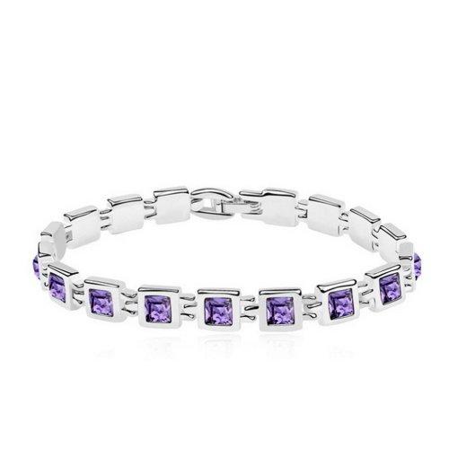 "Alvdis Fashion Jewelry Diamonds Style Alloy Swarovski Crystal Pendant Bracelet, 6.7"", Purple"