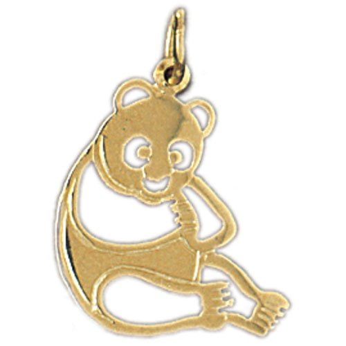 Clevereve Designer Series 14K Yellow Gold Animal Themed Panda Bear Charm 0.8 Gram(S)