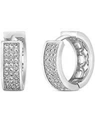 Mahi Rhodium Plated Triple Line Pave Huggie Earrings With CZ For Women ER1100594R
