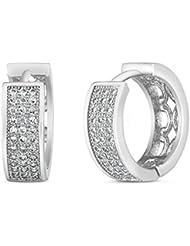Mahi Rhodium Plated Triple Line Pave Huggie Earrings With CZ For Women ER1100594R
