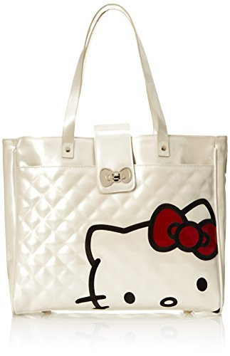 Hello Kitty with Red Bow Face On White Quilted Tote Shoulder Bag, Multi, One Size (Hello Kitty Quilted Purse compare prices)