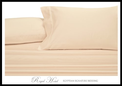Royal'S Solid Ivory 4Pc King / California-King Waterbed-Sheets 100-Percent Brushed Microfiber, Sateen Solid Sheet Set front-1016447