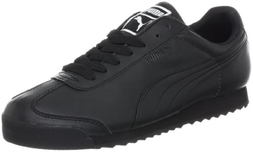 PUMA Men's Roma Basic Leather Sneaker,Black/Black,12 D US