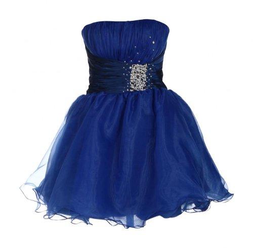 Kurzes Damen Bandeaukleid Abendkleider Ballonkleider Trägerlose Ballkleider schulterfreie Cocktailkleider Perlen Frauen Blau 44 UK 18