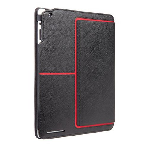 Case-Mate 日本正規品 iPad 2 Stand Case, The Venture, Black faux leather with Red accents スタンド機能つき ブックタイプ レザー調ケース「Venture」 ブラック/レッド CM013574