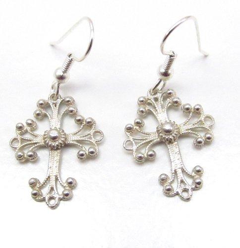 Sterling Silver Celtic Filigree Cross Earrings
