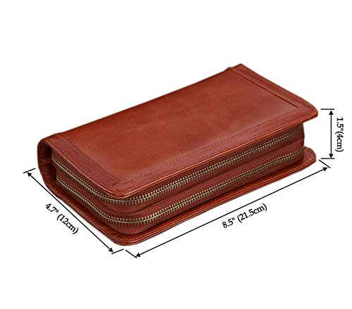 Business Checkbook Cover : Aibag men s genuine leather double zip around checkbook
