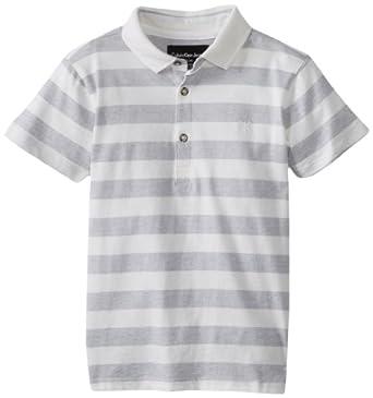 Calvin Klein Little Boys' Ck Striped Fashion Polo, White, Small