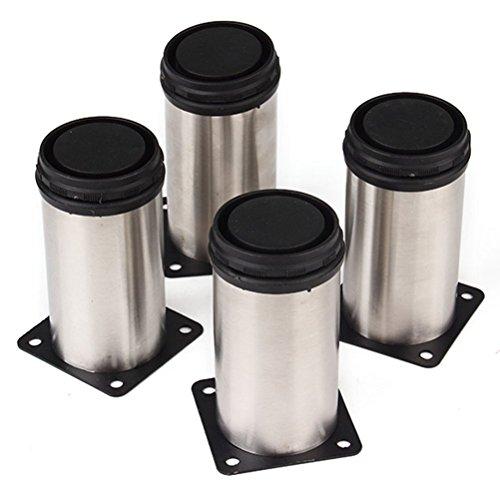 WINOMO Cuisine ronde mobilier jambes pieds réglables en acier inoxydable 4pcs(Silver)