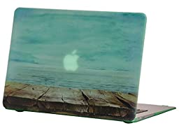 Macbook Air 11 inches Rubberized Hard Case for model A1370 & A1465, GRAFICO Endless Sea Design with Green Bottom Case, Come with Keyboard Cover